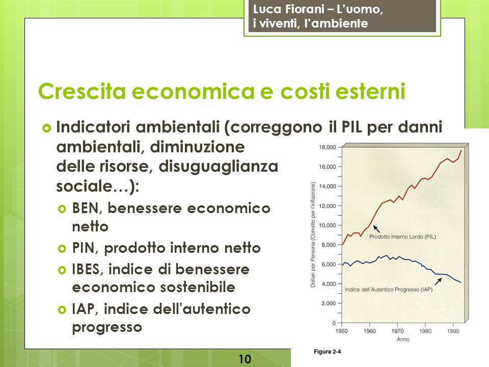 Luca Fiorani – Luomo, i viventi, lambiente Crescita economica e costi esterni Indicatori ambientali (correggono il PIL per danni ambientali, diminuzione delle risorse, disuguaglianza sociale…): BEN, benessere economico netto PIN, prodotto interno netto IBES, indice di benessere economico sostenibile IAP, indice dell autentico progresso 10