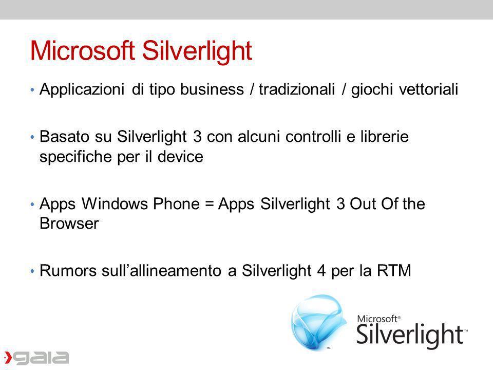 Microsoft Silverlight Applicazioni di tipo business / tradizionali / giochi vettoriali Basato su Silverlight 3 con alcuni controlli e librerie specifi