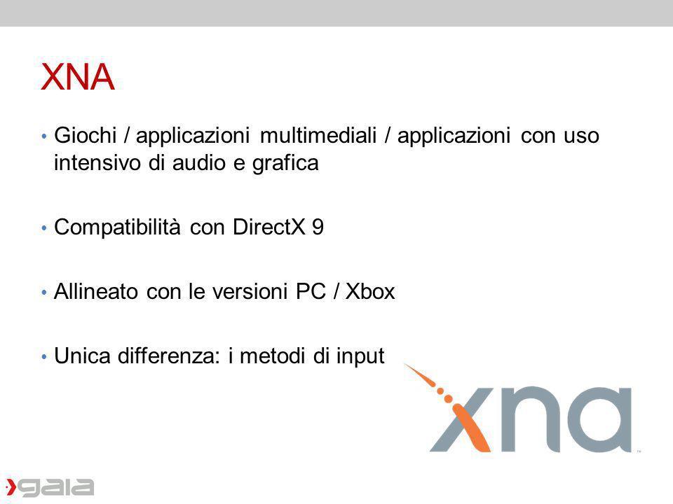 XNA Giochi / applicazioni multimediali / applicazioni con uso intensivo di audio e grafica Compatibilità con DirectX 9 Allineato con le versioni PC /