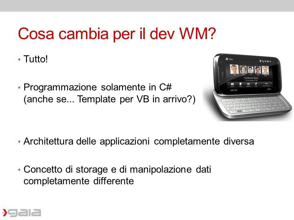 Cosa cambia per il dev WM? Tutto! Programmazione solamente in C# (anche se... Template per VB in arrivo?) Architettura delle applicazioni completament