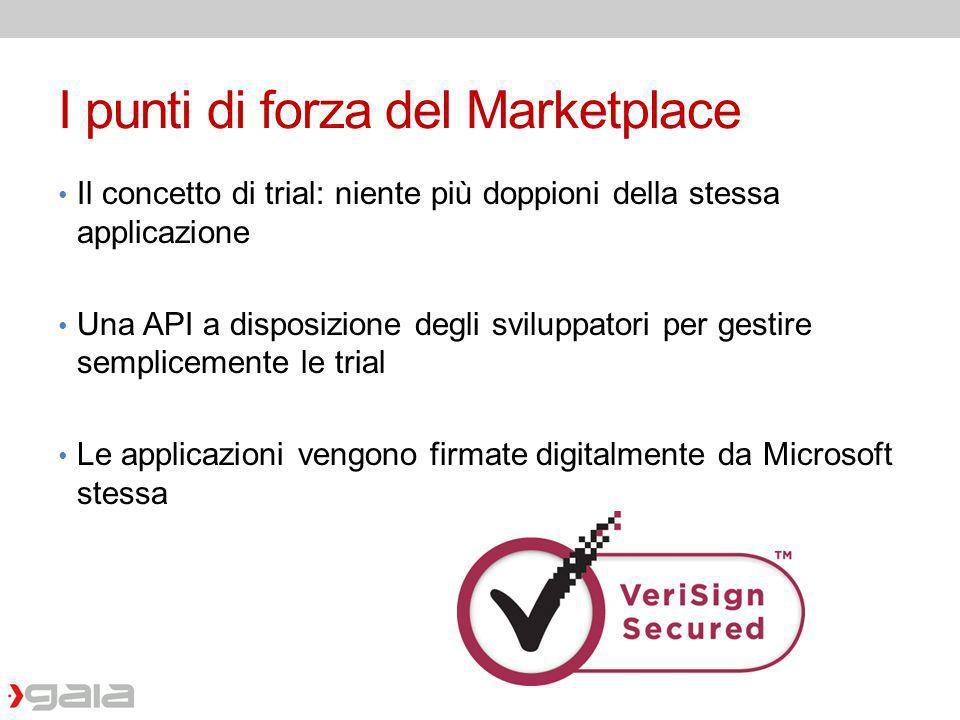 I punti di forza del Marketplace Il concetto di trial: niente più doppioni della stessa applicazione Una API a disposizione degli sviluppatori per ges