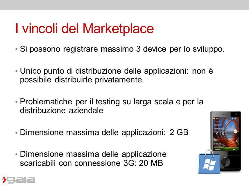 I vincoli del Marketplace Si possono registrare massimo 3 device per lo sviluppo. Unico punto di distribuzione delle applicazioni: non è possibile dis