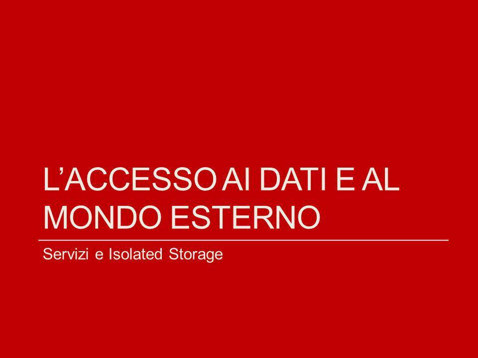 LACCESSO AI DATI E AL MONDO ESTERNO Servizi e Isolated Storage