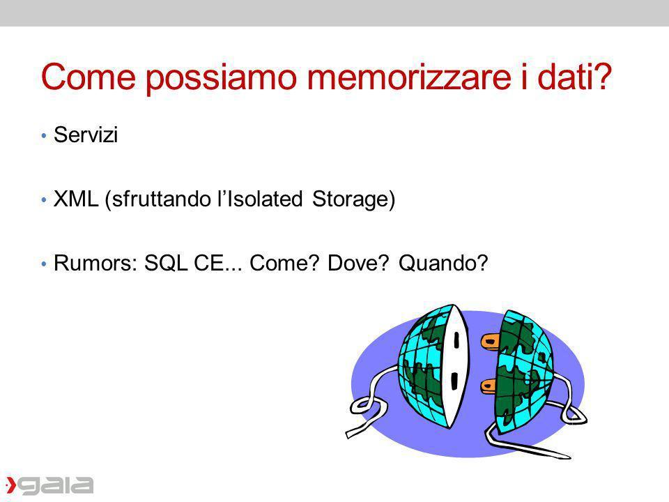 Come possiamo memorizzare i dati? Servizi XML (sfruttando lIsolated Storage) Rumors: SQL CE... Come? Dove? Quando?