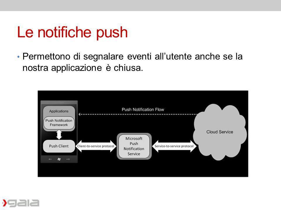 Le notifiche push Permettono di segnalare eventi allutente anche se la nostra applicazione è chiusa.