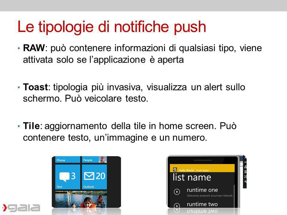 Le tipologie di notifiche push RAW: può contenere informazioni di qualsiasi tipo, viene attivata solo se lapplicazione è aperta Toast: tipologia più i