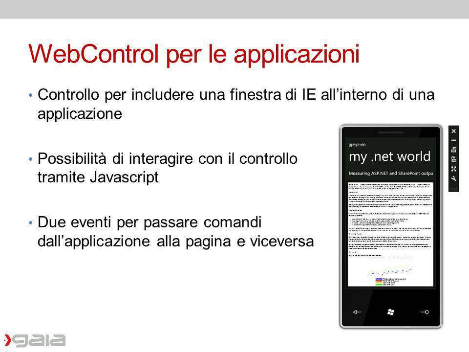 WebControl per le applicazioni Controllo per includere una finestra di IE allinterno di una applicazione Possibilità di interagire con il controllo tr