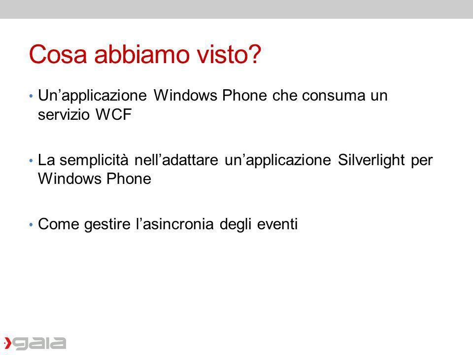 Cosa abbiamo visto? Unapplicazione Windows Phone che consuma un servizio WCF La semplicità nelladattare unapplicazione Silverlight per Windows Phone C