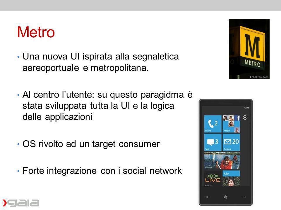 Metro Una nuova UI ispirata alla segnaletica aereoportuale e metropolitana. Al centro lutente: su questo paragidma è stata sviluppata tutta la UI e la