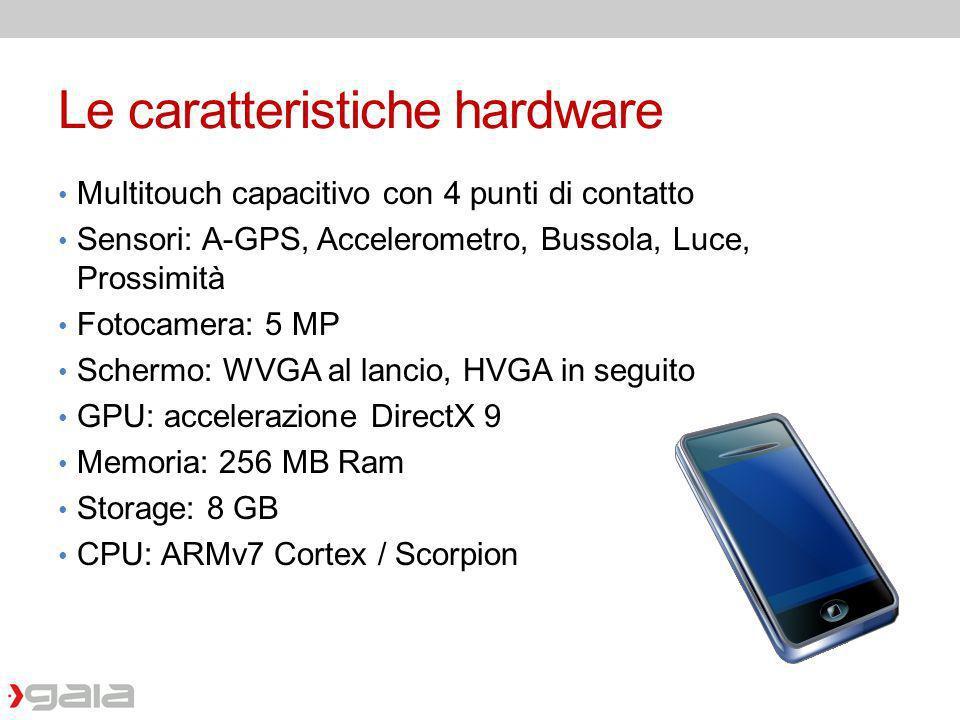 Le caratteristiche hardware Multitouch capacitivo con 4 punti di contatto Sensori: A-GPS, Accelerometro, Bussola, Luce, Prossimità Fotocamera: 5 MP Sc