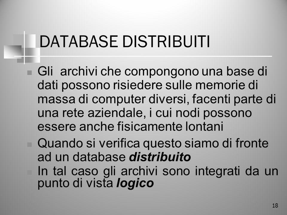 18 DATABASE DISTRIBUITI Gli archivi che compongono una base di dati possono risiedere sulle memorie di massa di computer diversi, facenti parte di una