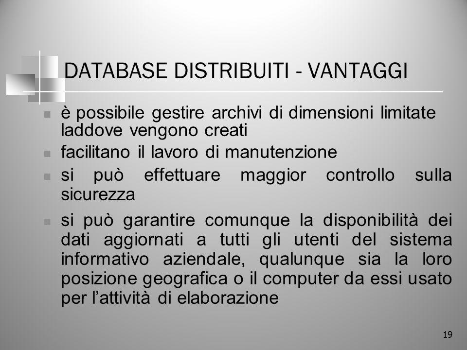 19 DATABASE DISTRIBUITI - VANTAGGI è possibile gestire archivi di dimensioni limitate laddove vengono creati facilitano il lavoro di manutenzione si p