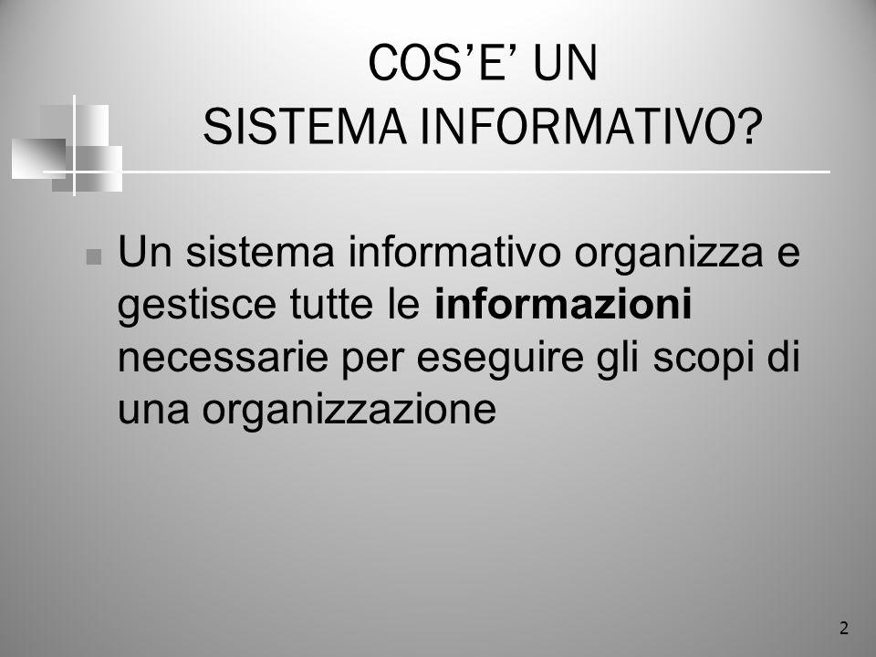 2 COSE UN SISTEMA INFORMATIVO? Un sistema informativo organizza e gestisce tutte le informazioni necessarie per eseguire gli scopi di una organizzazio