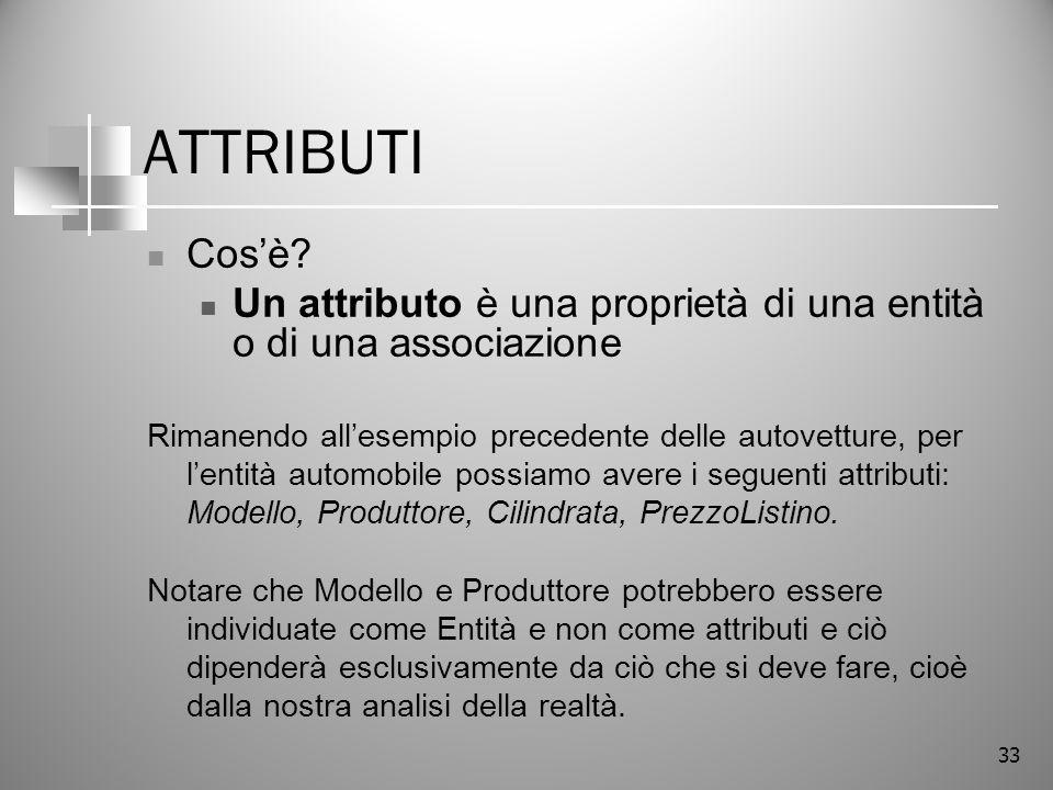 33 ATTRIBUTI Cosè? Un attributo è una proprietà di una entità o di una associazione Rimanendo allesempio precedente delle autovetture, per lentità aut