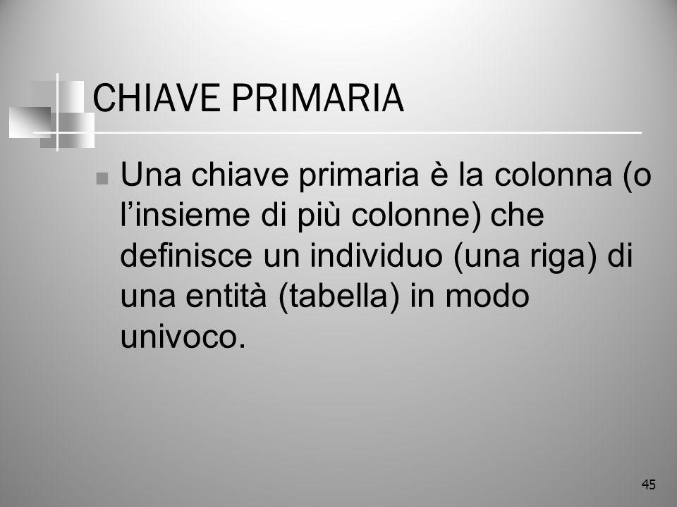 45 CHIAVE PRIMARIA Una chiave primaria è la colonna (o linsieme di più colonne) che definisce un individuo (una riga) di una entità (tabella) in modo