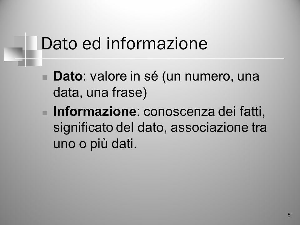 5 Dato ed informazione Dato: valore in sé (un numero, una data, una frase) Informazione: conoscenza dei fatti, significato del dato, associazione tra