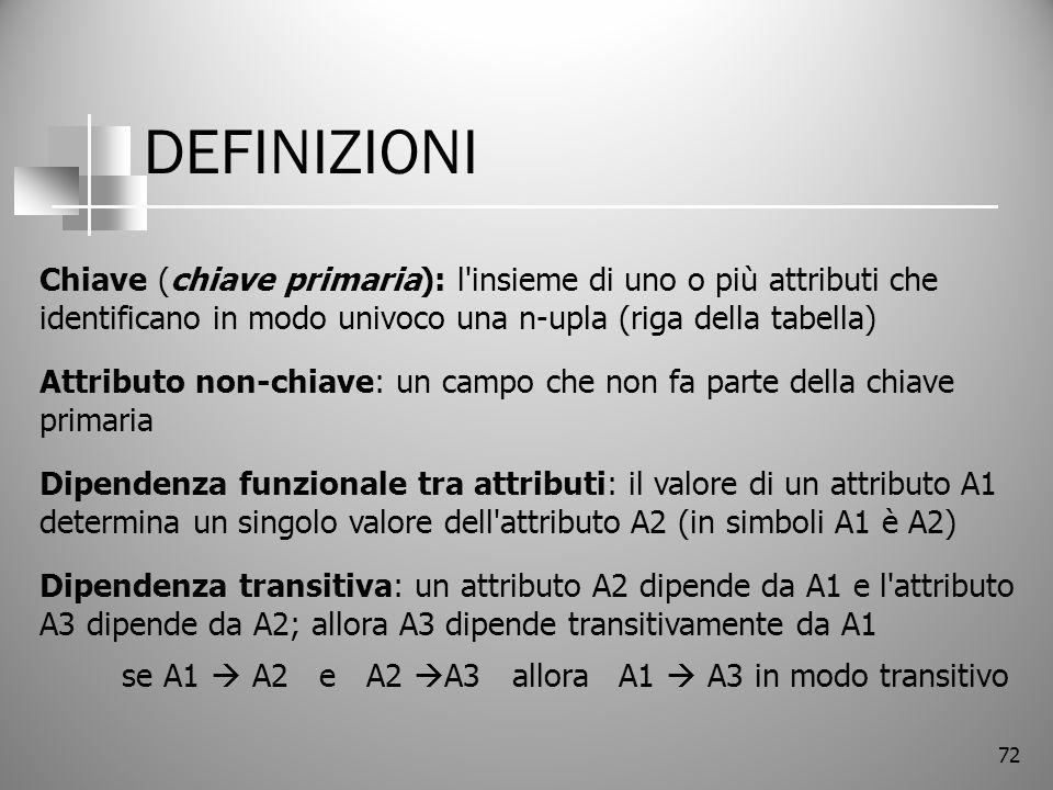 72 DEFINIZIONI Chiave (chiave primaria): l'insieme di uno o più attributi che identificano in modo univoco una n-upla (riga della tabella) Attributo n