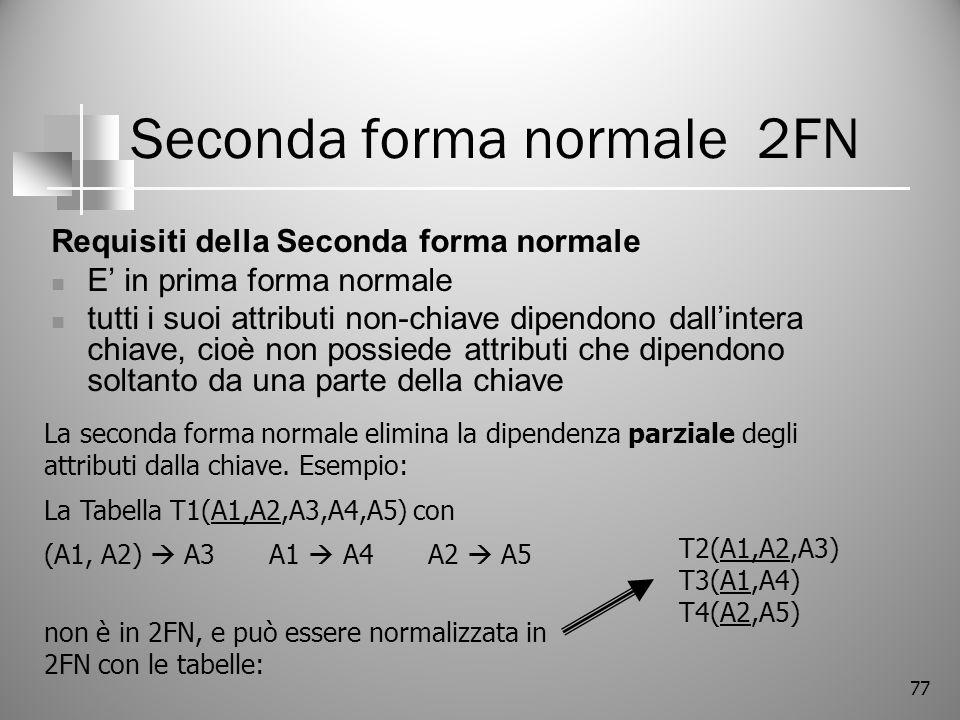 77 Seconda forma normale 2FN Requisiti della Seconda forma normale E in prima forma normale tutti i suoi attributi non-chiave dipendono dallintera chi