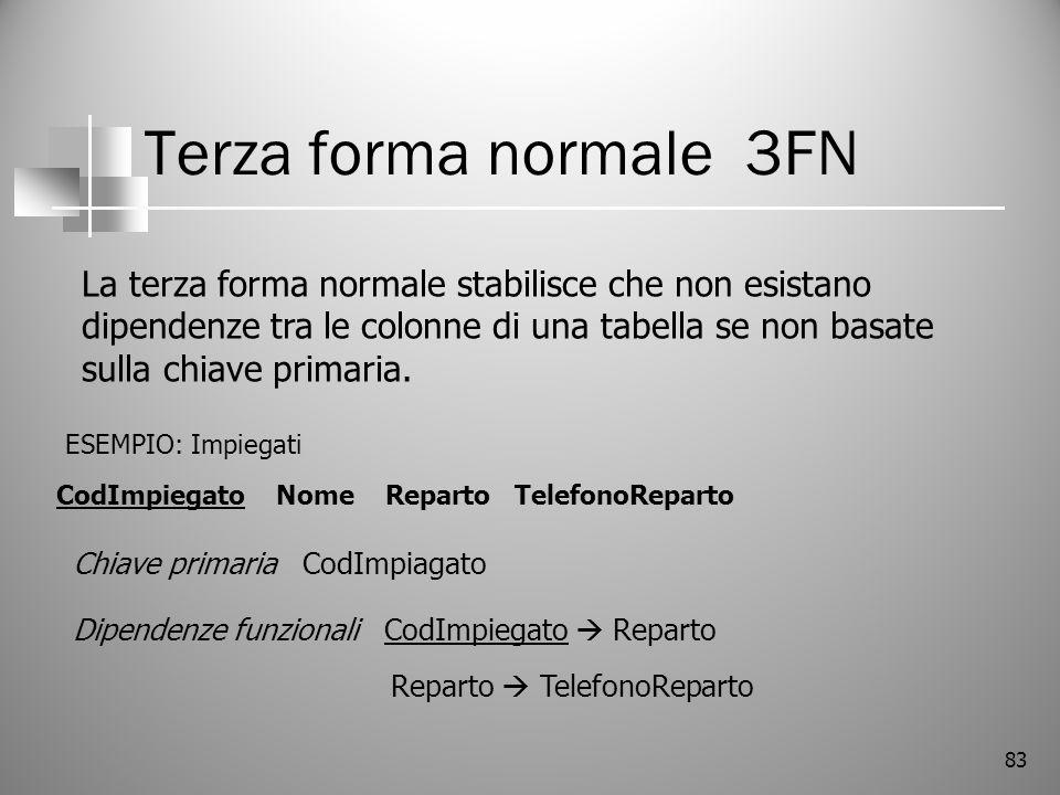 83 Terza forma normale 3FN La terza forma normale stabilisce che non esistano dipendenze tra le colonne di una tabella se non basate sulla chiave prim