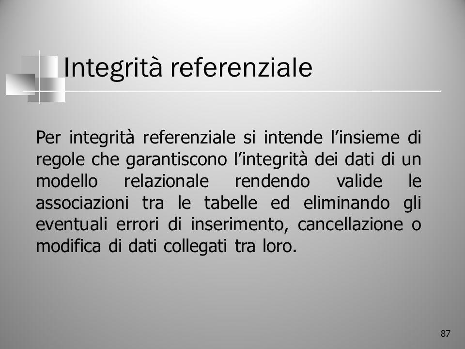 87 Integrità referenziale Per integrità referenziale si intende linsieme di regole che garantiscono lintegrità dei dati di un modello relazionale rend