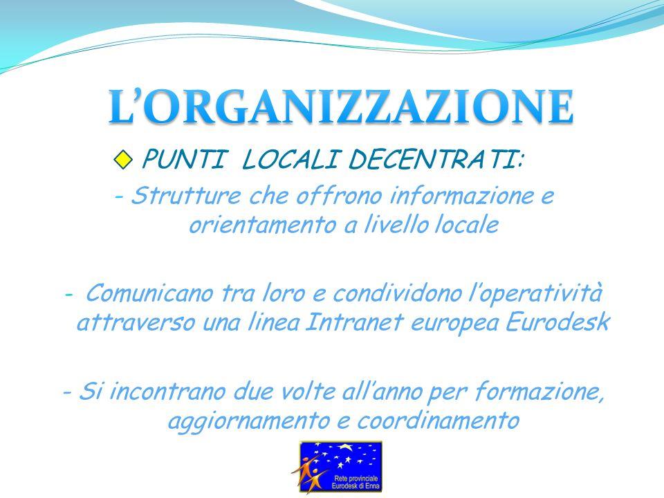 L Italia è il primo Paese in Europa per numero di Punti Locali Decentrati(105), che coprono il 95% delle regioni italiane: 42 Nord Italia 23 Centro 40 Sud e Isole