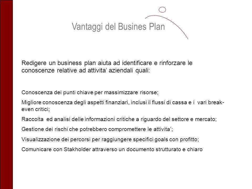 Vantaggi del Busines Plan Redigere un business plan aiuta ad identificare e rinforzare le conoscenze relative ad attivita aziendali quali: Conoscenza