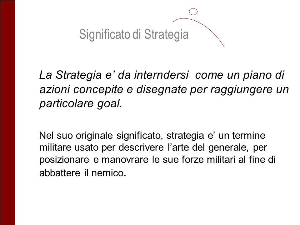 La Strategia e da interndersi come un piano di azioni concepite e disegnate per raggiungere un particolare goal. Nel suo originale significato, strate
