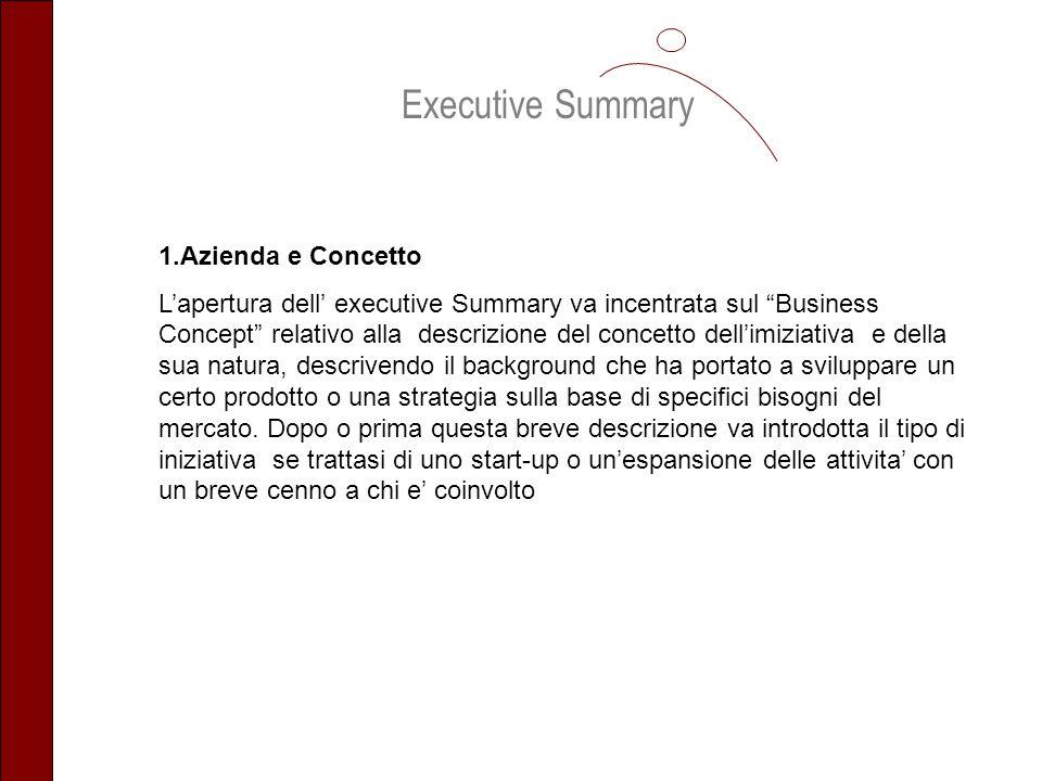 1.Azienda e Concetto Lapertura dell executive Summary va incentrata sul Business Concept relativo alla descrizione del concetto dellimiziativa e della
