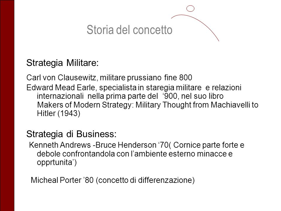 Strategia Militare: Carl von Clausewitz, militare prussiano fine 800 Edward Mead Earle, specialista in staregia militare e relazioni internazionali nella prima parte del 900, nel suo libro Makers of Modern Strategy: Military Thought from Machiavelli to Hitler (1943) Strategia di Business: Kenneth Andrews -Bruce Henderson 70( Cornice parte forte e debole confrontandola con lambiente esterno minacce e opprtunita) Micheal Porter 80 (concetto di differenzazione) Storia del concetto