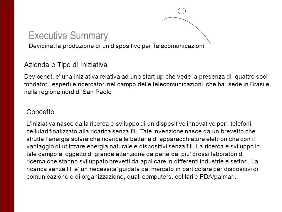 Executive Summary Devicinet la produzione di un dispositivo per Telecomunicazioni Azienda e Tipo di Iniziativa Devicenet, e una iniziativa relativa ad