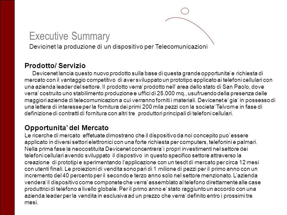 Executive Summary Devicinet la produzione di un dispositivo per Telecomunicazioni Prodotto/ Servizio Devicenet lancia questo nuovo prodotto sulla base