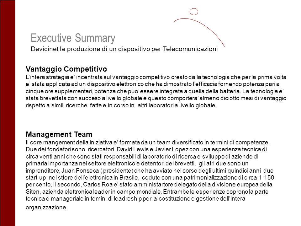 Executive Summary Devicinet la produzione di un dispositivo per Telecomunicazioni Vantaggio Competitivo Lintera strategia e incentrata sul vantaggio c
