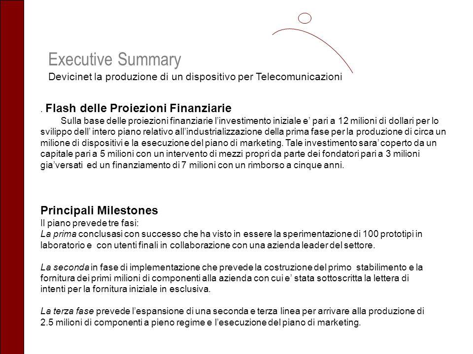 Executive Summary Devicinet la produzione di un dispositivo per Telecomunicazioni. Flash delle Proiezioni Finanziarie Sulla base delle proiezioni fina