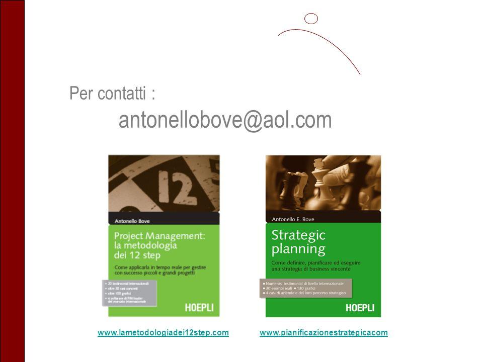 Per contatti : antonellobove@aol.com www.lametodologiadei12step.comwww.pianificazionestrategicacom