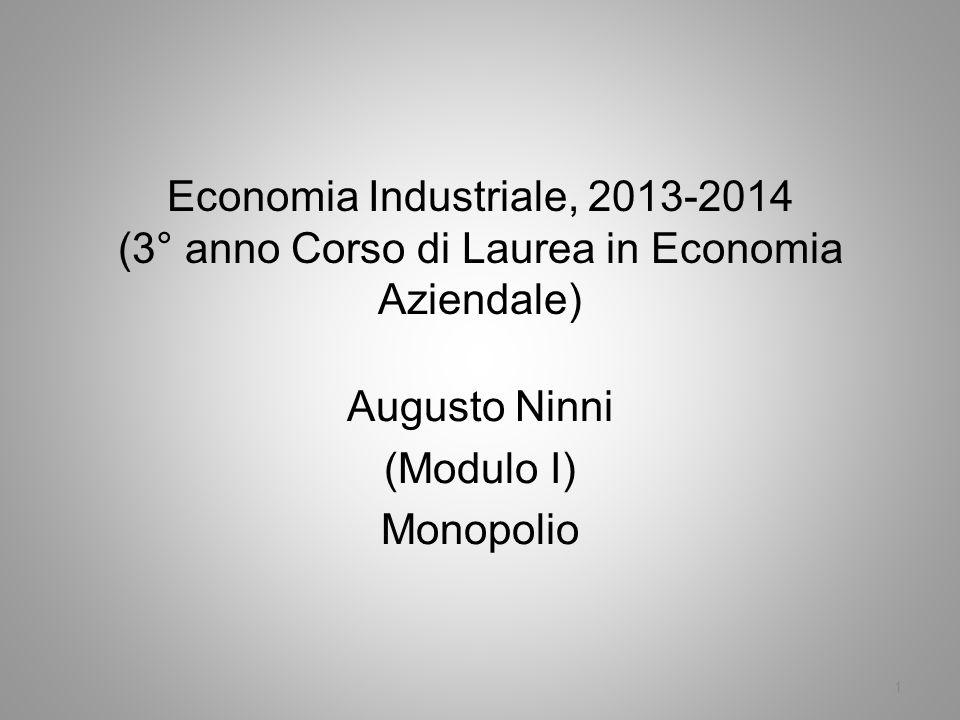 Economia Industriale, 2013-2014 (3° anno Corso di Laurea in Economia Aziendale) Augusto Ninni (Modulo I) Monopolio 1
