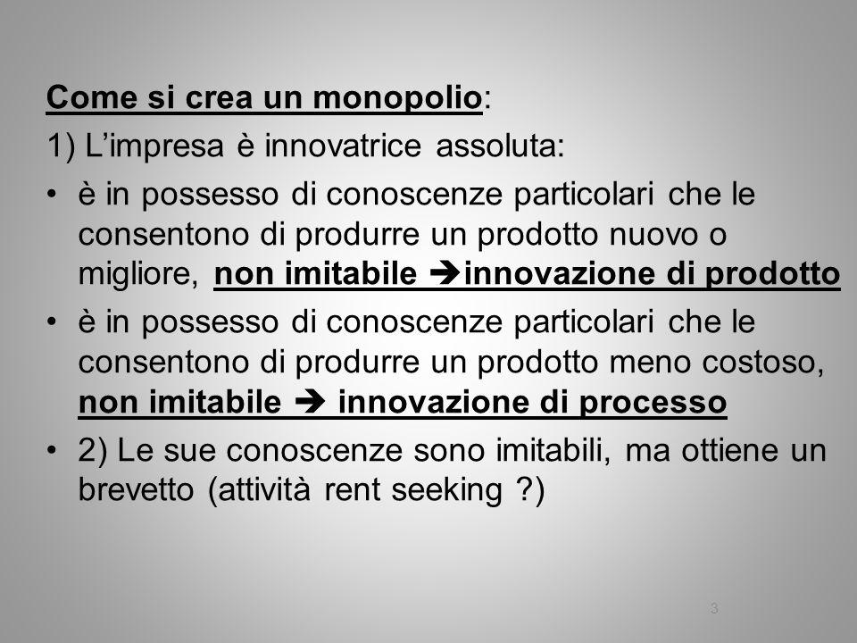 Come si crea un monopolio: 1) Limpresa è innovatrice assoluta: è in possesso di conoscenze particolari che le consentono di produrre un prodotto nuovo