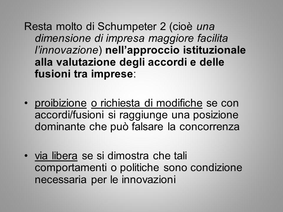 Resta molto di Schumpeter 2 (cioè una dimensione di impresa maggiore facilita linnovazione) nellapproccio istituzionale alla valutazione degli accordi