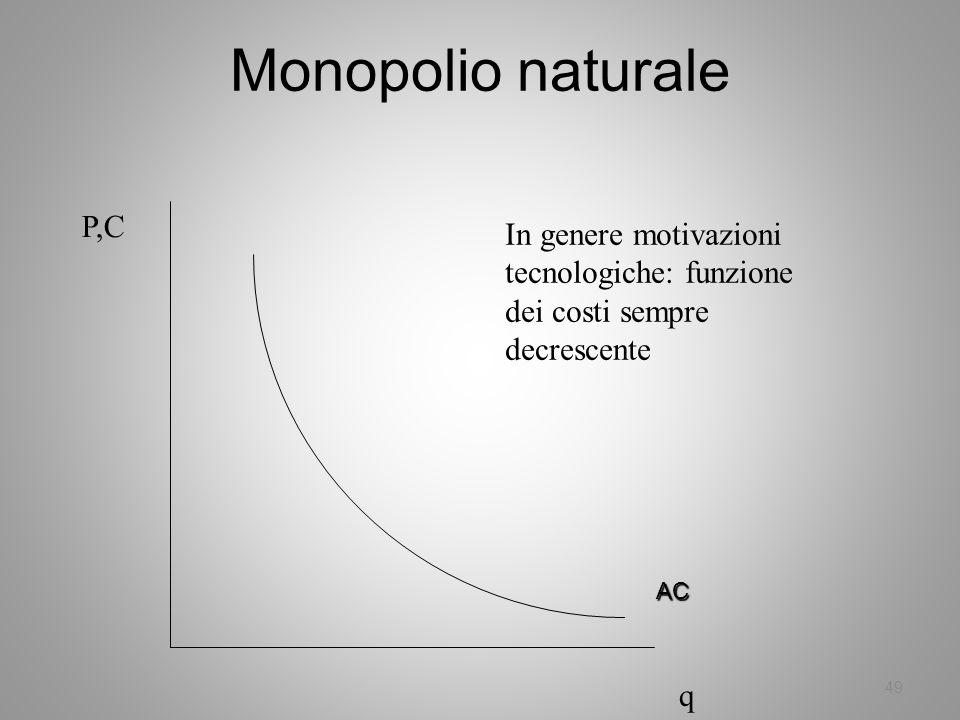 49 Monopolio naturale In genere motivazioni tecnologiche: funzione dei costi sempre decrescente P,C q AC