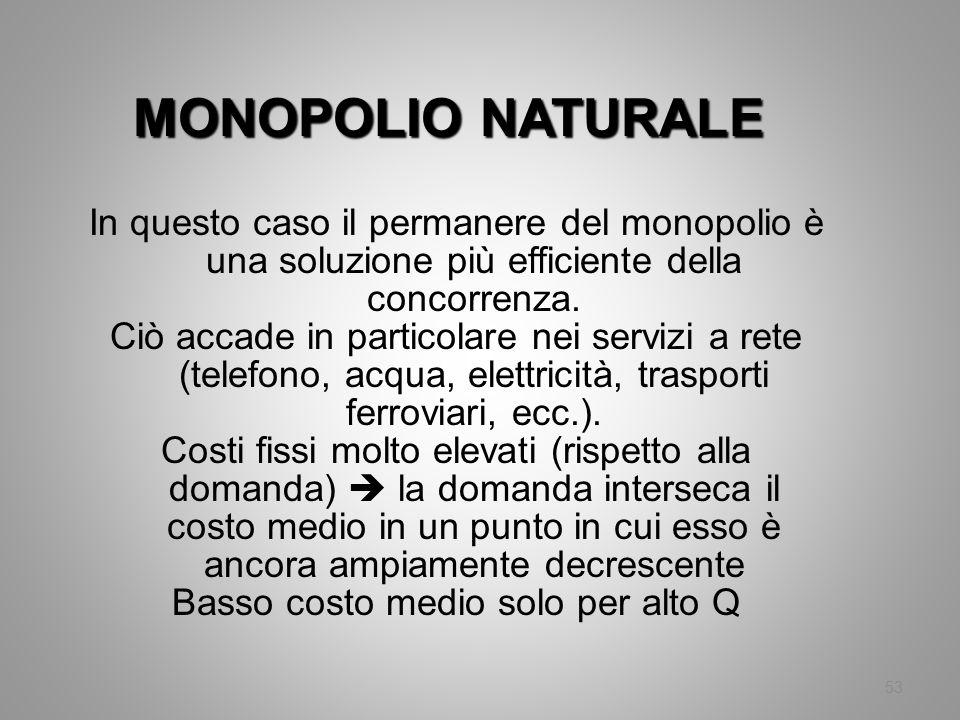53 MONOPOLIO NATURALE In questo caso il permanere del monopolio è una soluzione più efficiente della concorrenza. Ciò accade in particolare nei serviz
