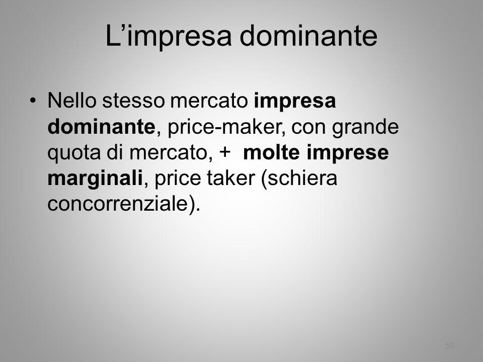 58 Limpresa dominante Nello stesso mercato impresa dominante, price-maker, con grande quota di mercato, + molte imprese marginali, price taker (schier