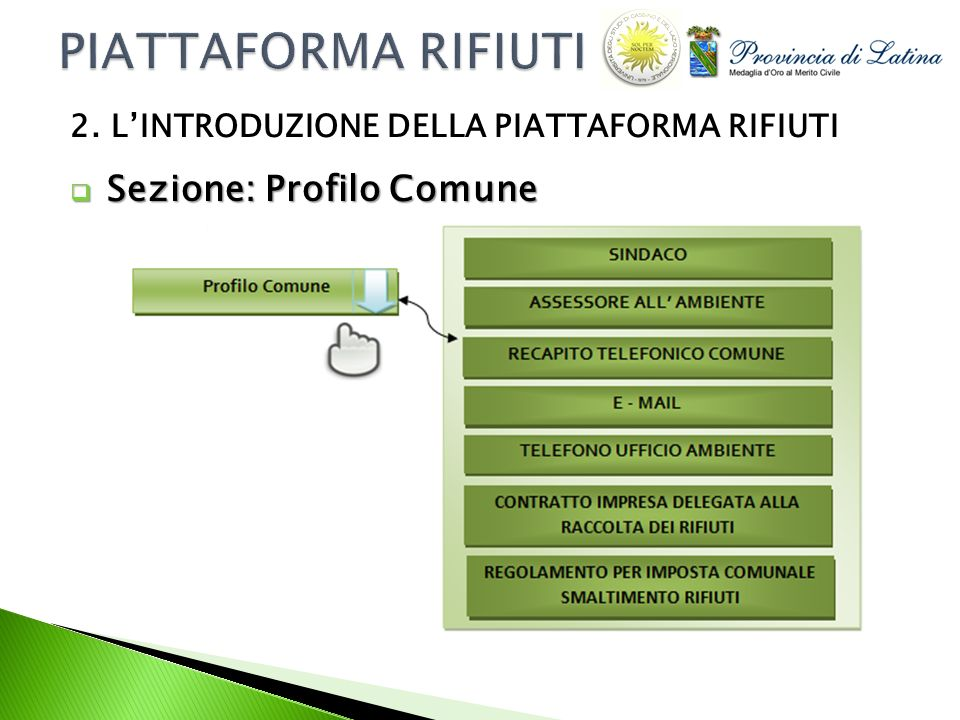 Sezione: Profilo Comune Sezione: Profilo Comune 2. LINTRODUZIONE DELLA PIATTAFORMA RIFIUTI