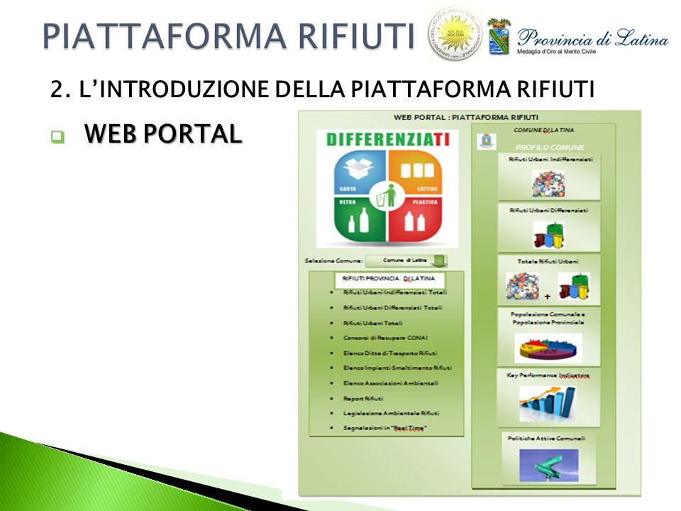 WEB PORTAL WEB PORTAL 2. LINTRODUZIONE DELLA PIATTAFORMA RIFIUTI