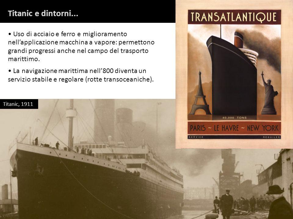 Titanic e dintorni... Uso di acciaio e ferro e miglioramento nellapplicazione macchina a vapore: permettono grandi progressi anche nel campo del trasp