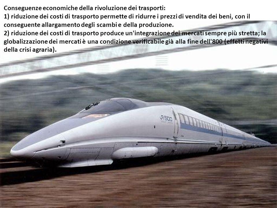 Conseguenze economiche della rivoluzione dei trasporti: 1) riduzione dei costi di trasporto permette di ridurre i prezzi di vendita dei beni, con il c