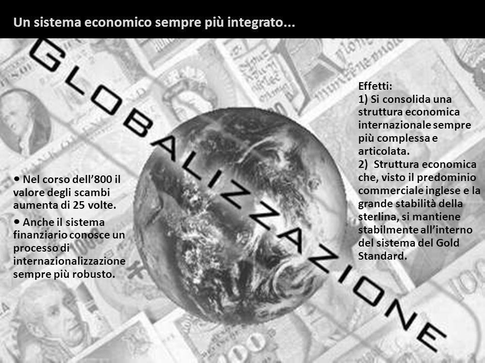 Nel corso dell800 il valore degli scambi aumenta di 25 volte. Anche il sistema finanziario conosce un processo di internazionalizzazione sempre più ro