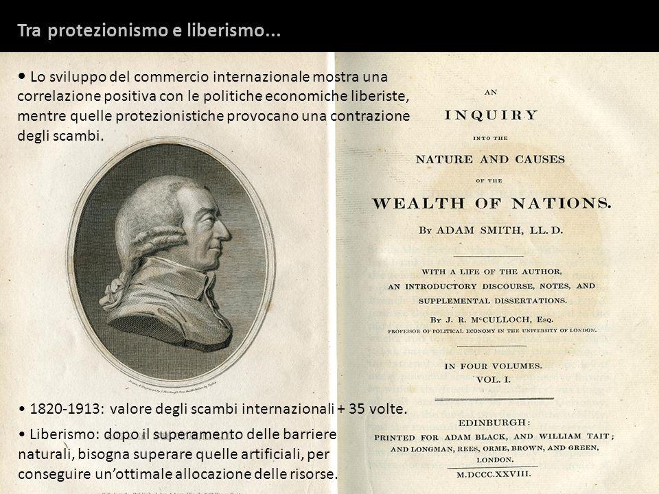 1820-1913: valore degli scambi internazionali + 35 volte. Liberismo: dopo il superamento delle barriere naturali, bisogna superare quelle artificiali,