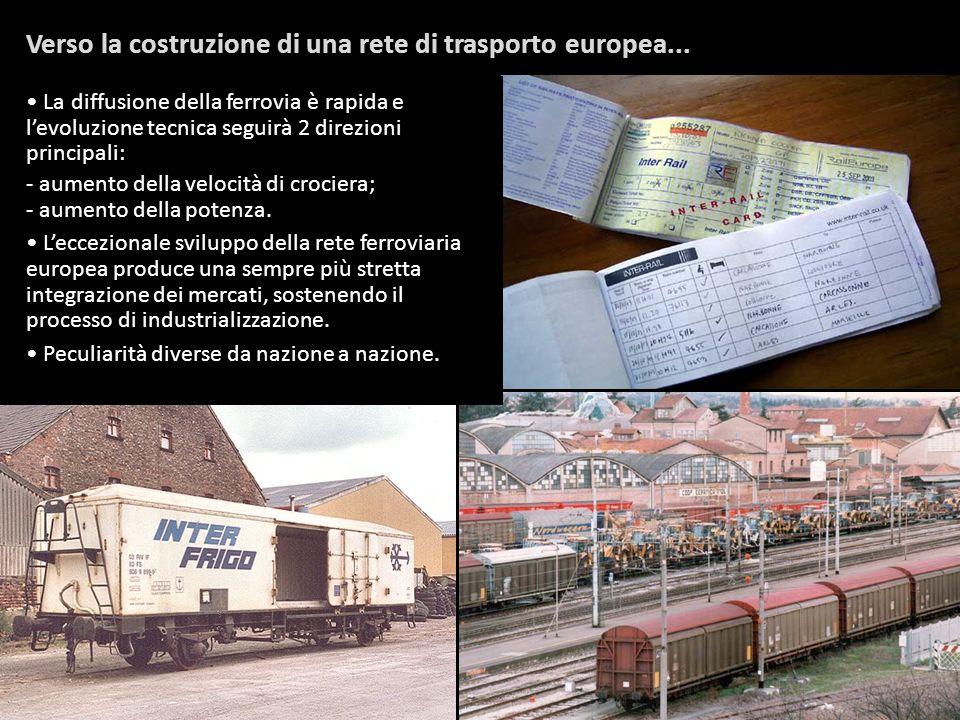 Verso la costruzione di una rete di trasporto europea... La diffusione della ferrovia è rapida e levoluzione tecnica seguirà 2 direzioni principali: -