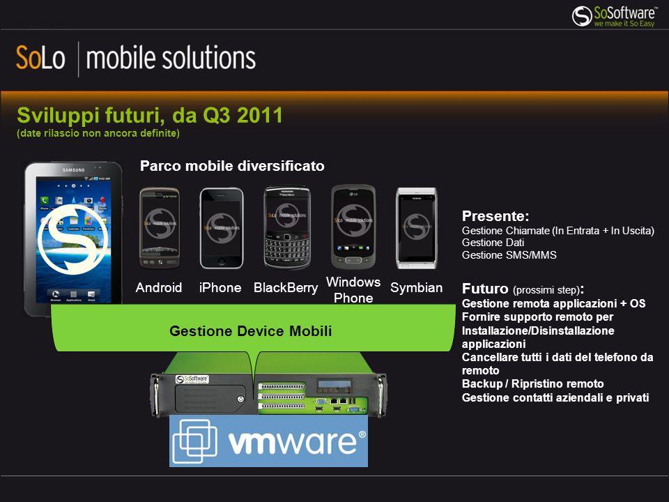 Sviluppi futuri, da Q3 2011 (date rilascio non ancora definite) Parco mobile diversificato Presente: Gestione Chiamate (In Entrata + In Uscita) Gestio