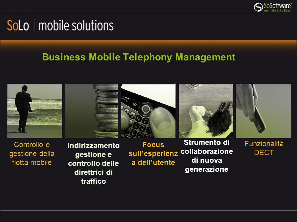 Controllo e gestione della flotta mobile Indirizzamento gestione e controllo delle direttrici di traffico Focus sullesperienz a dellutente Funzionalit