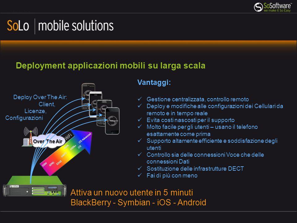 Over The Air Deployment applicazioni mobili su larga scala Attiva un nuovo utente in 5 minuti BlackBerry - Symbian - iOS - Android Vantaggi: Gestione